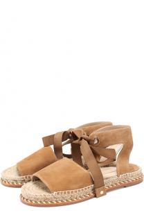 Замшевые сандалии на джутовой подошве Paloma Barcelo