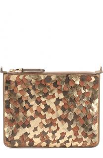 Клатч из металлизированной кожи на цепочке Ralph Lauren