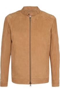 Замшевая куртка на молнии с воротником-стойкой Sand