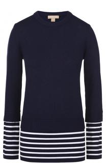 Кашемировый пуловер с хлопковой вставкой в полоску Michael Kors