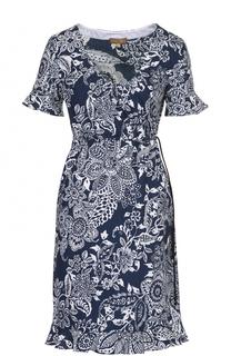 Мини-платье с завышенной талией и цветочным принтом Fay