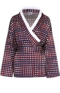 Хлопковая блуза-кимоно с контрастной отделкой и поясом Stella Jean
