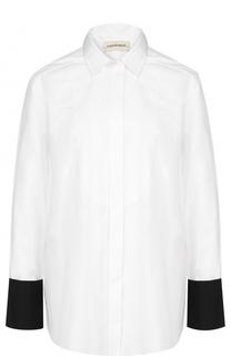 Блуза прямого кроя с контрастными манжетами и запонками By Malene Birger