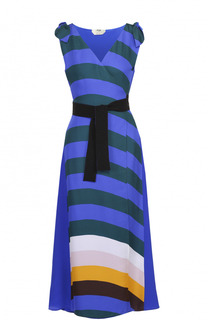 Шелковое платье в контрастную полоску с запахом Fendi