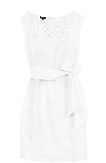 Кружевное шелковое платье с поясом Escada