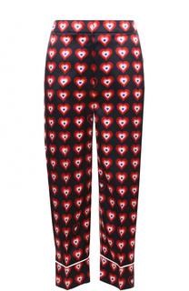 Шелковые укороченные брюки с контрастным принтом Fendi