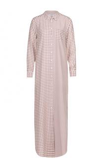 Шелковое платье-рубашка в клетку Equipment