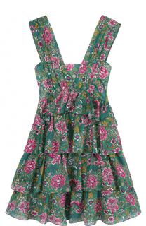 Многоярусное мини-платье с цветочным принтом No. 21
