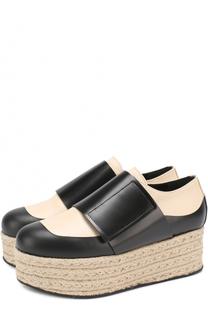 Кожаные ботинки на джутовой платформе Marni
