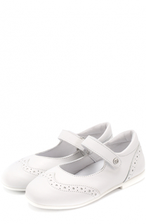 Кожаные туфли с брогированием и застежкой велькро Naturino
