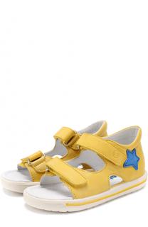 Кожаные сандалии с застежками велькро и аппликациями Falcotto