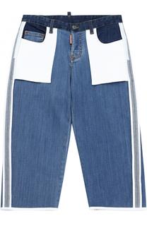 Комбинированные джинсы с накладными карманами и лампасами Dsquared2