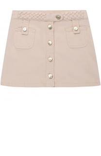 Джинсовая юбка с плетеными вставками и накладными карманами Chloé