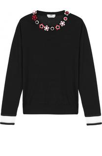 Кашемировый пуловер с прозрачными вставками и декорированным круглым вырезом Fendi
