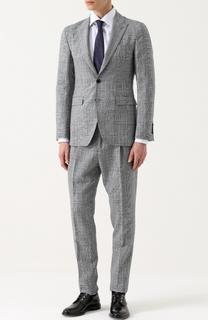 Шерстяной костюм в клетку с пиджаком на двух пуговицах Burberry