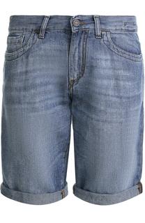 Джинсовые шорты из смеси хлопка и льна Dirk Bikkembergs