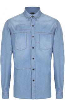 Хлопковая рубашка с накладным карманом и декоративной заплаткой Lanvin