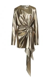 Мини-платье с металлизированной отделкой и драпировкой Saint Laurent
