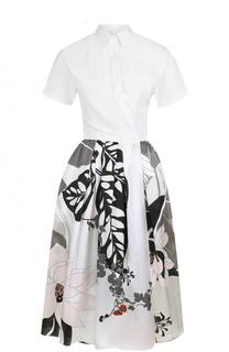 Платье-рубашка с цветочным принтом и коротким рукавом sara roka