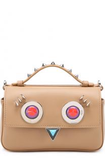 Двухцветная сумка Double Baguette с декоративной отделкой Fendi