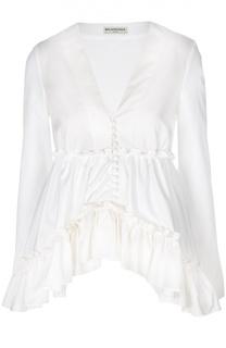 Расклешенная блуза с оборками и асимметричным низом Balenciaga