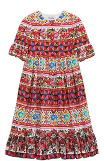 Платье с принтом и оборками Dolce & Gabbana