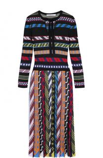 Приталенное платье-миди с плиссированной юбкой Mary Katrantzou