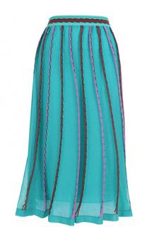 Вязаная юбка-миди с широким поясом и контрастной отделкой M Missoni