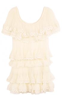 Многоярусное мини-платье с оборками Chloé