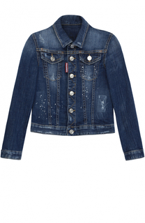 Джинсовая куртка с потертостями и аппликацией Dsquared2