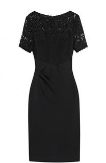 Приталенное платье с кружевным лифом и драпировкой Escada