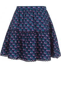 Шелковая мини-юбка с контрастным принтом Kenzo
