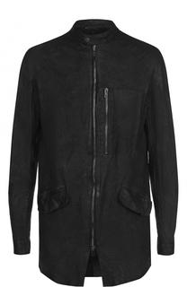 Удлиненная кожаная куртка на молнии Salvatore Santoro