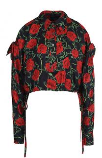 Шелковый укороченный топ с открытыми плечами и цветочным принтом Alexander Wang