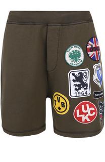 Хлопковые шорты свободного кроя с нашивками Dsquared2