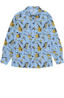 Рубашка из хлопка с принтом и воротником button down Dolce & Gabbana