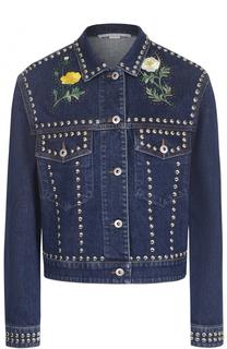 Укороченная джинсовая куртка с заклепками и контрастной вышивкой Stella McCartney
