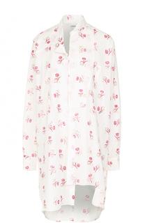 Хлопковая блуза асимметричного кроя с цветочным принтом Loewe