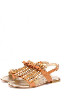 Кожаные сандалии с бахромой и стразами Simonetta