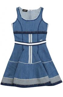 Комбинированное платье из денима с контрастным поясом Dsquared2