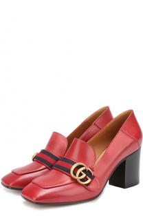 Кожаные туфли Peyton на устойчивом каблуке Gucci