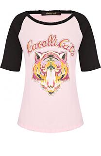 Хлопковая футболка с контрастной отделкой и круглым вырезом Roberto Cavalli