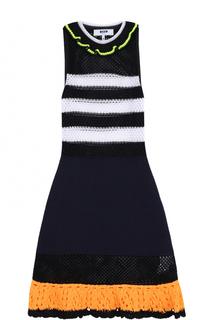 Вязаное мини-платье без рукавов с оборками MSGM