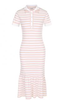 Приталенное платье в полоску с оборкой и декорированным воротником Natasha Zinko