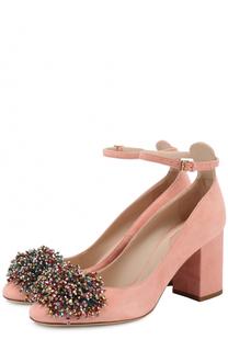 Замшевые туфли с кристаллами Elie Saab