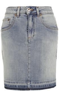 Джинсовая мини-юбка с необработанным краем Roberto Cavalli