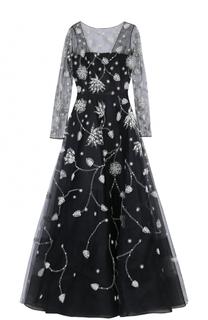 Приталенное платье-макси с длинным рукавом и контрастной вышивкой Oscar de la Renta