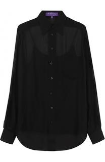 Шелковая полупрозрачная блуза прямого кроя Ralph Lauren