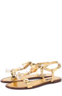 Сандалии Bianca из металлизированной кожи с декором Dolce & Gabbana