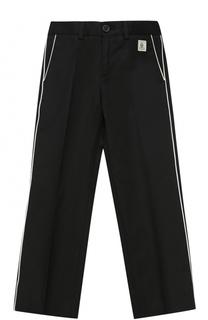 Хлопковые брюки прямого кроя с контрастной отделкой Dolce & Gabbana